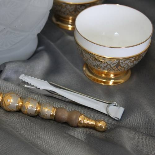 Кальян с пиалами 3 шт, фарфор, никель, золото. Златоустовская гравюра
