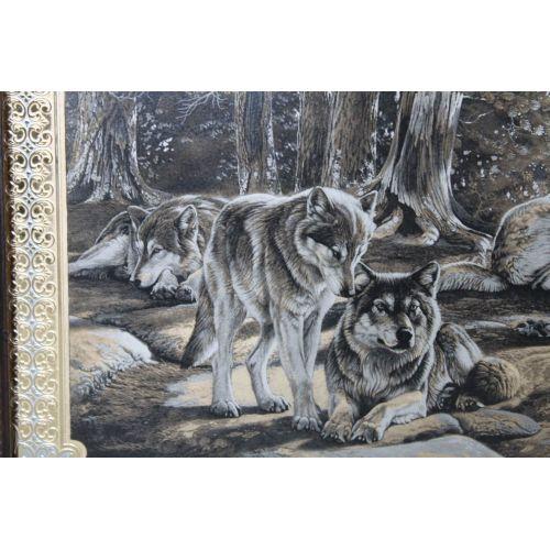 Панно (серия животные) «Волки на Тесьме»