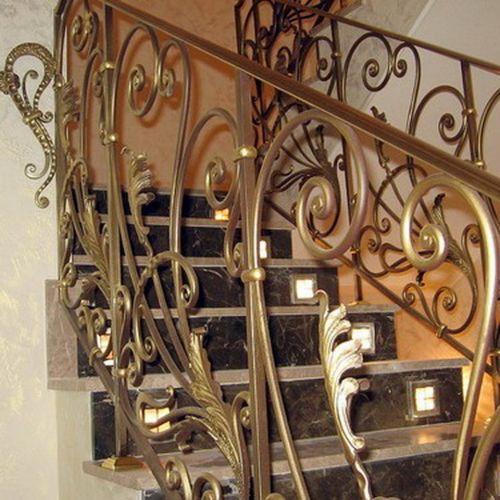 Внутренние лестничные кованые перила - 14.