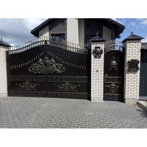 Кованые ворота и калитка - 100.
