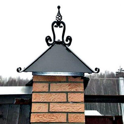 Кованый колпак на столбах ограды - 04.