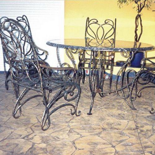 Кованый стол и стулья - 08.