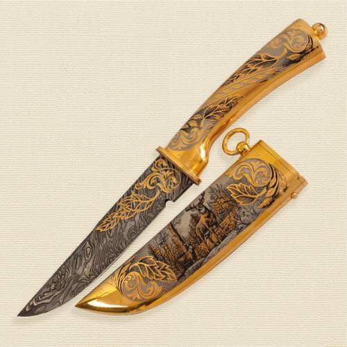 Нож цм Н8 На охоничей заимке у10 на мини-подставке 2753.1 нзч