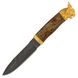 Нож «Джунгли Амазонки» Н82-Л, сталь черный дамаск (У10А-7ХНМ), рукоять: золото, литьё, стабилизированная береза, рисованный клинок в золоте