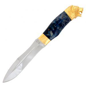 Нож «Лесная хитрость» Н91 сталь ЭИ-107 рукоять: золото, стабилизированная береза, литьё, рисованный клинок в золоте