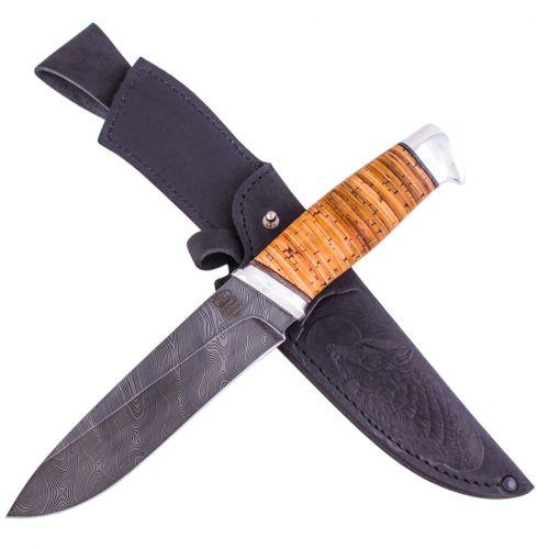 Нож охотничий, туристический «Рыцарь» Н1, сталь черный дамаск (У10А-7ХНМ), рукоять: дюраль, береста