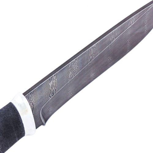 Нож охотничий, туристический «Рыцарь» Н1, сталь черный дамаск (У10А-7ХНМ), рукоять: дюраль, микропора