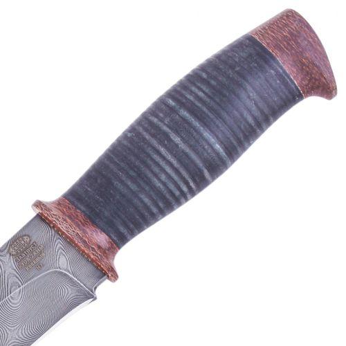 Нож охотничий, туристический «Рыцарь» Н1, сталь черный дамаск (У10А-7ХНМ), рукоять: текстолит, кожа