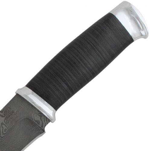 Нож охотничий, туристический «Рыцарь» Н1, сталь черный дамаск (У10А-7ХНМ), рукоять: дюраль, кожа
