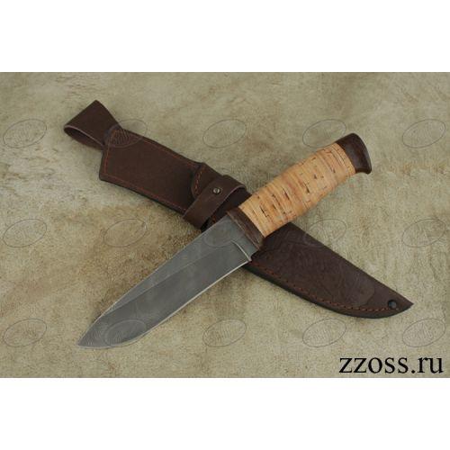 Нож охотничий, туристический «Рыцарь» Н1, сталь нержавеющий дамаск (40Х13-Х12МФ1), рукоять: текстолит, береста
