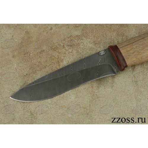 Нож охотничий, туристический «Рыцарь» Н1, сталь черный дамаск (У10А-7ХНМ), рукоять: текстолит, орех