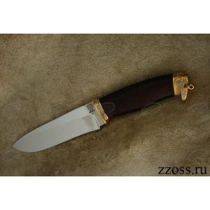 Нож «Мальтийский рыцарь« Н1-П, сталь ЭИ-107, рукоять: золото, орех морёный, резная гарда и тыльник, рисованный клинок в золоте