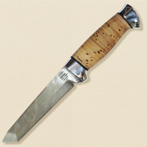 Нож охотничий, туристический «Телохранитель» Н10, сталь черный дамаск (У10А-7ХНМ), рукоять: дюраль, береста наборная