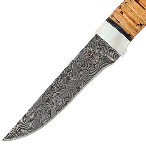Нож охотничий, туристический «Тифлис» Н14, сталь нержавеющий дамаск (40Х13-Х12МФ1), рукоять: дюраль, береста наборная
