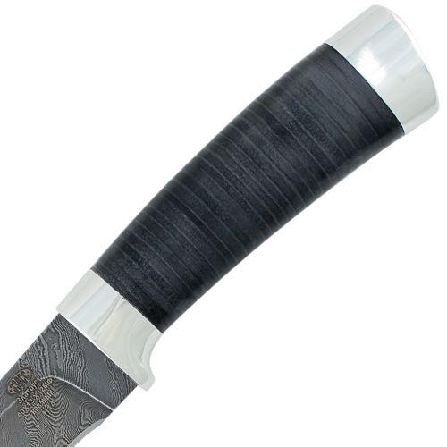 Нож охотничий, туристический «Тифлис» Н14, сталь нержавеющий дамаск (40Х13-Х12МФ1), рукоять: дюраль, кожа наборная