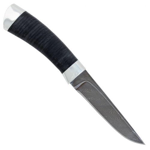 Нож охотничий, туристический «Тифлис» Н14, чёрный дамаск (У10А-7ХНМ), рукоять: дюраль, кожа наборная