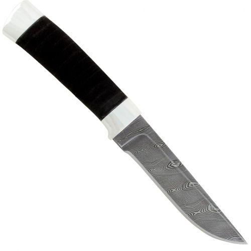 Нож охотничий, туристический «Тифлис» Н14, сталь контрастный дамаск (65Г-Х12МФ1), рукоять: дюраль, микропористая резина