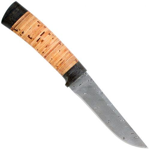 Нож охотничий, туристический «Тифлис» Н14, сталь контрастный дамаск (65Г-Х12МФ1), рукоять: текстолит, береста наборная
