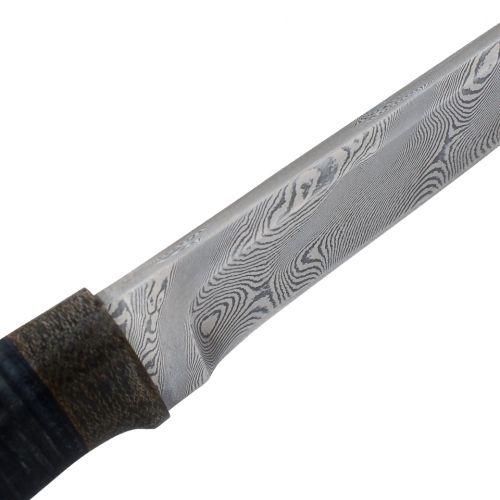 Нож охотничий, туристический «Тифлис» Н14, сталь контрастный дамаск (65Г-Х12МФ1), рукоять: текстолит, кожа