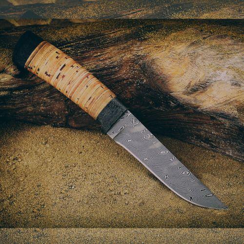 Нож охотничий, туристический «Тифлис» Н14, сталь черный дамаск (У10А-7ХНМ), рукоять: текстолит, береста наборная