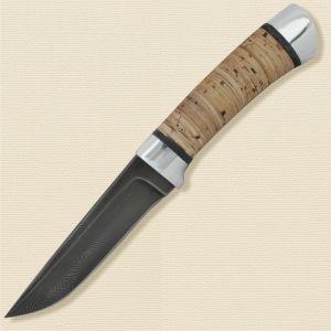 Нож охотничий, туристический «Тифлис» Н14, сталь черный дамаск (У10А-7ХНМ), рукоять: дюраль, береста наборная