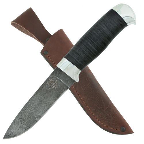 Нож охотничий, туристический Н15, сталь нержавеющий дамаск (40Х13-Х12МФ1), рукоять: дюраль, кожа наборная. Златоустовские ножи