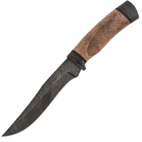Нож охотничий, туристический «Егерь» Н16, сталь черный дамаск (У10А-7ХНМ), рукоять: текстолит, орех