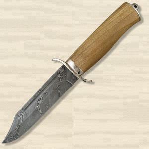 Нож охотничий, туристический «Пограничник» Н19, сталь черный дамаск (У10А-7ХНМ), рукоять: никель, орех