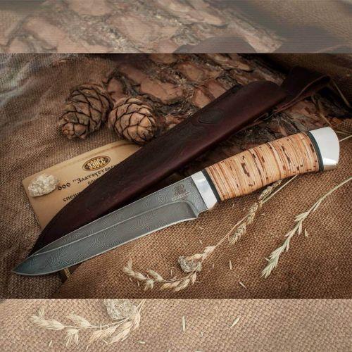 Нож охотничий, туристический «Мичман» Н1Т, сталь черный дамаск (У10А-7ХНМ), рукоять: дюраль, береста