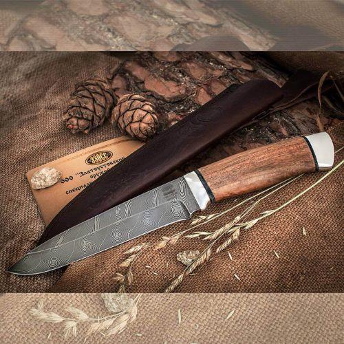 Нож охотничий, туристический «Мичман» Н1Т, сталь черный дамаск (У10А-7ХНМ), рукоять: дюраль, орех