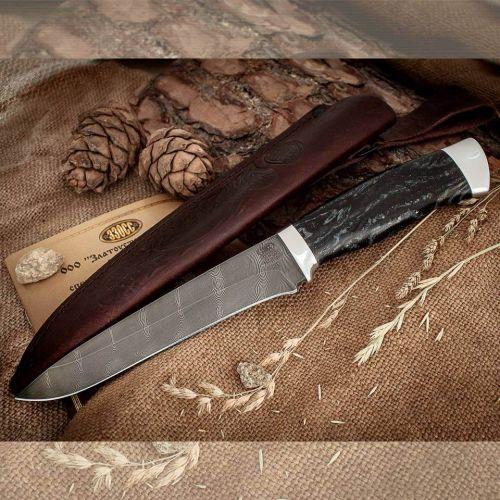 Нож охотничий, туристический «Мичман» Н1Т, сталь черный дамаск (У10А-7ХНМ), рукоять: дюраль, смола