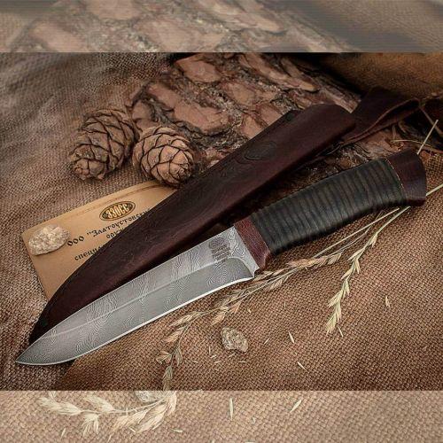 Нож охотничий, туристический «Мичман» Н1Т, сталь черный дамаск (У10А-7ХНМ), рукоять: текстолит, кожа