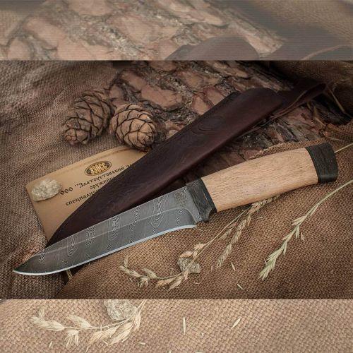 Нож охотничий, туристический «Мичман» Н1Т, сталь черный дамаск (У10А-7ХНМ), рукоять: текстолит, орех
