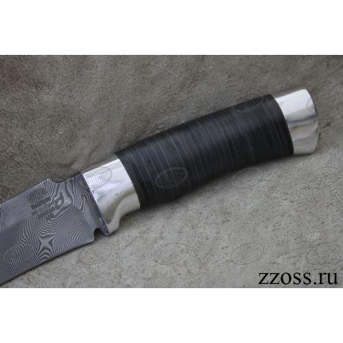 Нож охотничий, туристический «Турецкий» Н2, сталь контрастный дамаск (65Г-Х12МФ1), рукоять: дюраль, кожа наборная
