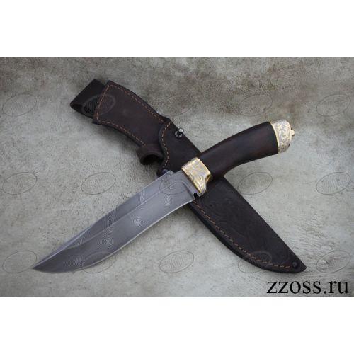 Нож «Турецкий гамбит» Н2-П, сталь черный дамаск (У10А-7ХНМ), рукоять: золото, орех морёный, резная гарда и тыльник, рисованный клинок в золоте