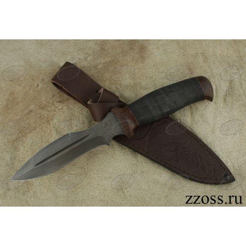 Нож охотничий, туристический «Крестоносец» Н21А, сталь черный дамаск (У10А-7ХНМ), рукоять: текстолит, микропора