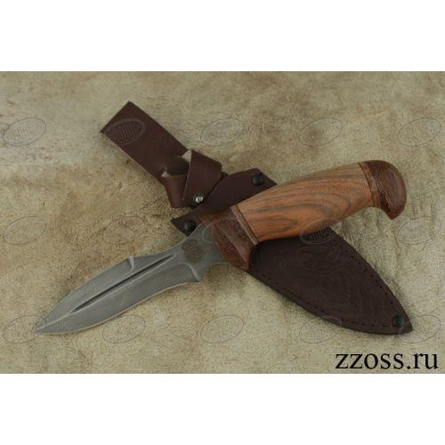 Нож охотничий, туристический «Крестоносец» Н21А, сталь черный дамаск (У10А-7ХНМ), рукоять: текстолит, орех