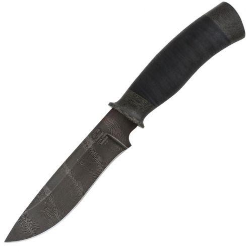Нож разделочный, шкуросъёмный «Идальго» Н29, сталь черный дамаск (У10А-7ХНМ), рукоять: текстолит, кожа