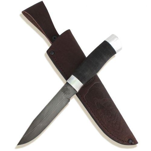 Нож охотничий, туристический «Робинзон» Н33, сталь черный дамаск (У10А-7ХНМ), дюраль, микропора
