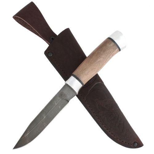 Нож охотничий, туристический «Робинзон» Н33, сталь черный дамаск (У10А-7ХНМ), дюраль, орех