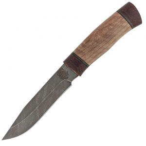 Нож охотничий, туристический «Робинзон» Н33, сталь черный дамаск (У10А-7ХНМ), текстолит, орех
