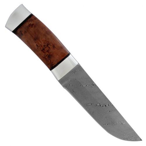 Нож охотничий, туристический «Алтай» Н4, сталь контрастный дамаск (65Г-Х12МФ1), рукоять: дюраль, кап