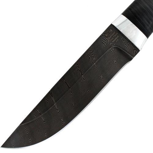 Нож охотничий, туристический «Алтай» Н4, сталь черный дамаск (У10А-7ХНМ), рукоять: дюраль, кожа