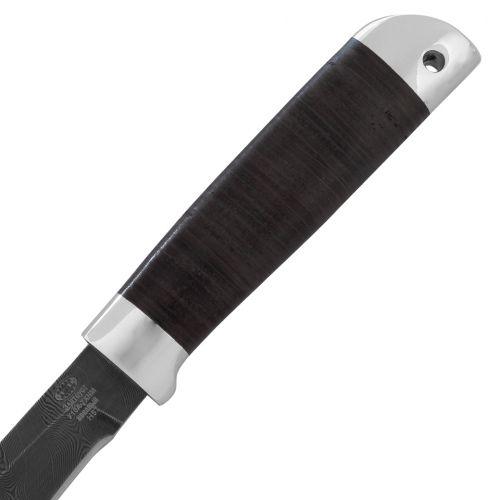 Нож охотничий, туристический «Змеелов» Н57, сталь черный дамаск (У10А-7ХНМ), рукоять: дюраль, кожа