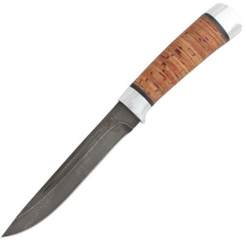 Нож охотничий, туристический «Сталкер» Н58, сталь черный дамаск (У10А-7ХНМ), рукоять: дюраль, береста наборная