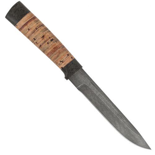 Нож охотничий, туристический «Сталкер» Н58, сталь черный дамаск (У10А-7ХНМ), рукоять: текстолит, береста наборная