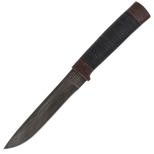 Нож охотничий, туристический «Сталкер» Н58, сталь черный дамаск (У10А-7ХНМ), рукоять: текстолит, кожа