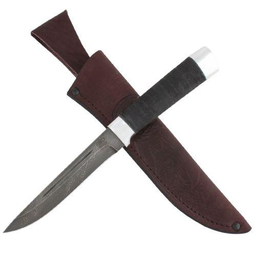 Нож охотничий, туристический «Сталкер» Н58, сталь черный дамаск (У10А-7ХНМ), рукоять: дюраль, микропора
