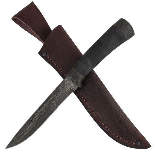 Нож охотничий, туристический «Сталкер» Н58, сталь черный дамаск (У10А-7ХНМ), рукоять: текстолит, микропора
