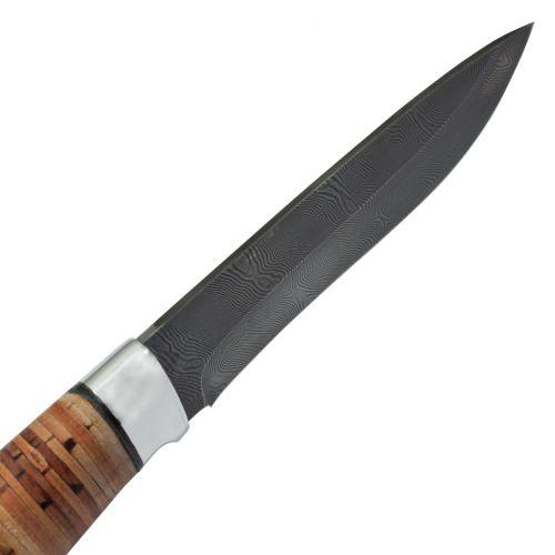 Нож охотничий, туристический «Александр II» Н6, сталь черный дамаск (У10А-7ХНМ), рукоять: дюраль, береста